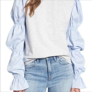Treasure & Bond Striped Bubble Sleeve Sweatshirt